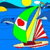 Play Sail with Dolphins: Yatch Coloring