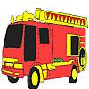 Red fire fighting car coloring