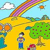 Play Jenny at the apple garden coloring
