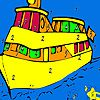 Big ship and fishes coloring