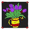 Purple tulips in the frame coloring