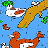 Play Duck family in the river coloring