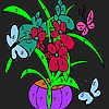 Colorful flowers in vase coloring