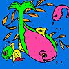 Play Pink dolphins in the sea coloring