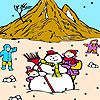 Snowman and children on the mountain coloring