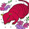 Red mouse in the flowers puzzle