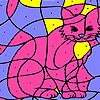 Pink house cat coloring