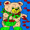 Bear and valentine hearts coloring