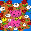 Kitty in the flower island coloring