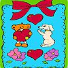 Valentines day animals in frame coloring