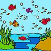 Colorful ocean fishes coloring